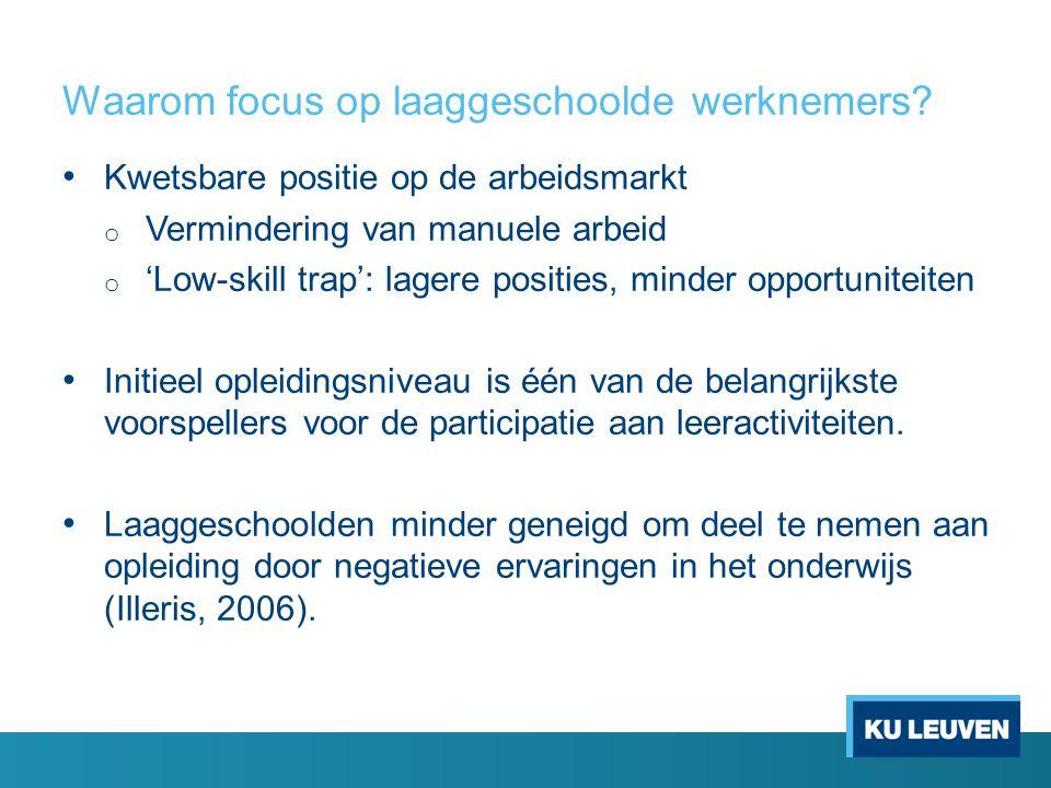 Waarom focus op laaggeschoolde werknemers? • Kwetsbare positie op de arbeidsmarkt o Vermindering van manuele arbeid o 'Low-skill trap': lagere positie