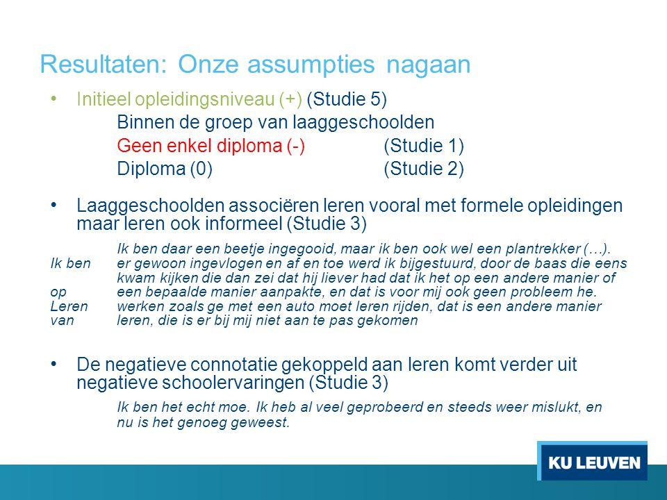 Resultaten: Onze assumpties nagaan • Initieel opleidingsniveau (+) (Studie 5) Binnen de groep van laaggeschoolden Geen enkel diploma (-) (Studie 1) Di