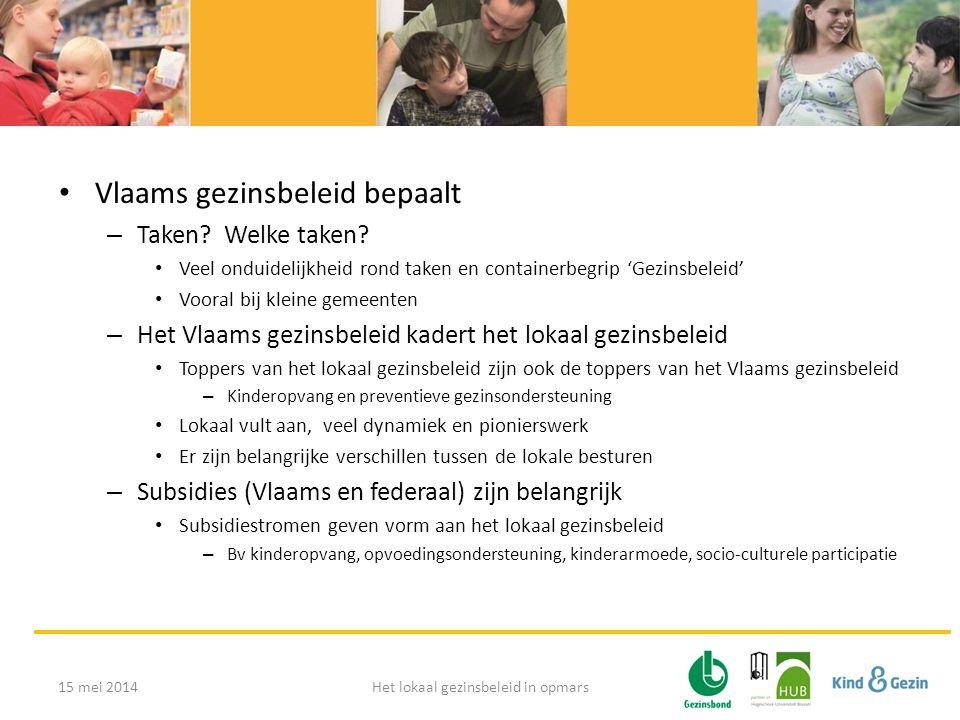 • Vlaams gezinsbeleid bepaalt – Taken? Welke taken? • Veel onduidelijkheid rond taken en containerbegrip 'Gezinsbeleid' • Vooral bij kleine gemeenten