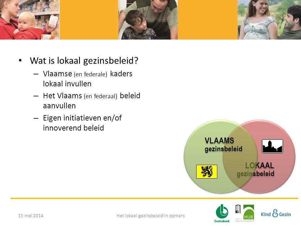 LOKAAL gezinsbeleid VLAAMS gezinsbeleid • Wat is lokaal gezinsbeleid? – Vlaamse (en federale) kaders lokaal invullen – Het Vlaams (en federaal) beleid