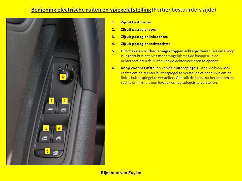 Rijschool van Zuylen Bediening electrische ruiten en spiegelafstelling (Portier bestuurders zijde) 12 34 5 1.Zijruit bestuurder. 2.Zijruit passagier v