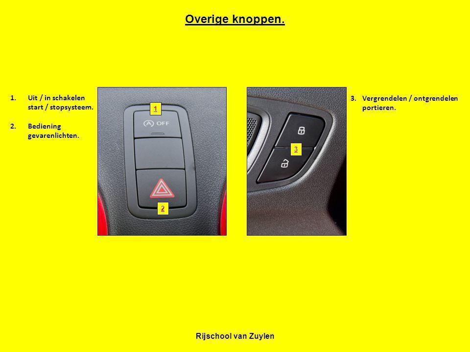 Rijschool van Zuylen 1 2 3 Overige knoppen. 1.Uit / in schakelen start / stopsysteem. 2.Bediening gevarenlichten. 3.Vergrendelen / ontgrendelen portie