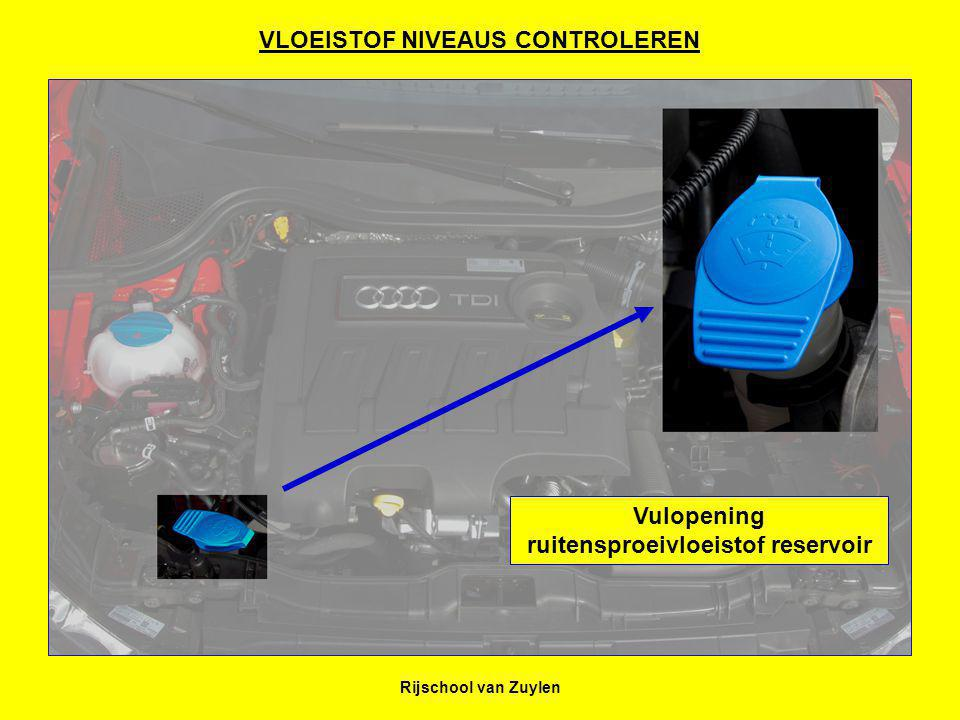 Rijschool van Zuylen VLOEISTOF NIVEAUS CONTROLEREN Vulopening ruitensproeivloeistof reservoir