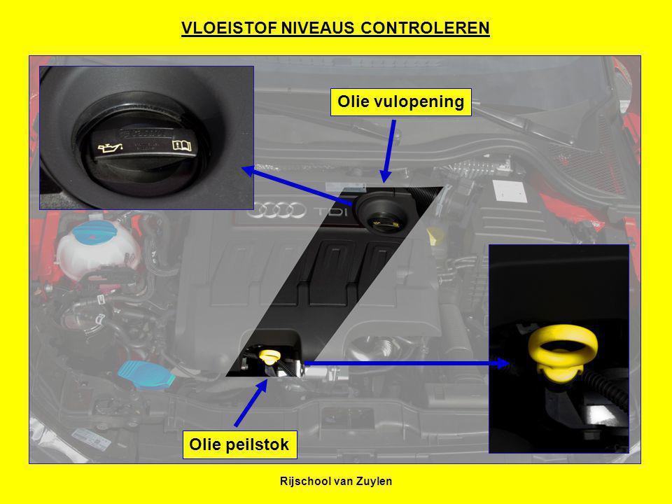 Rijschool van Zuylen 123 Oliepeil controleren 1: Neem de peilstok uit de houder.