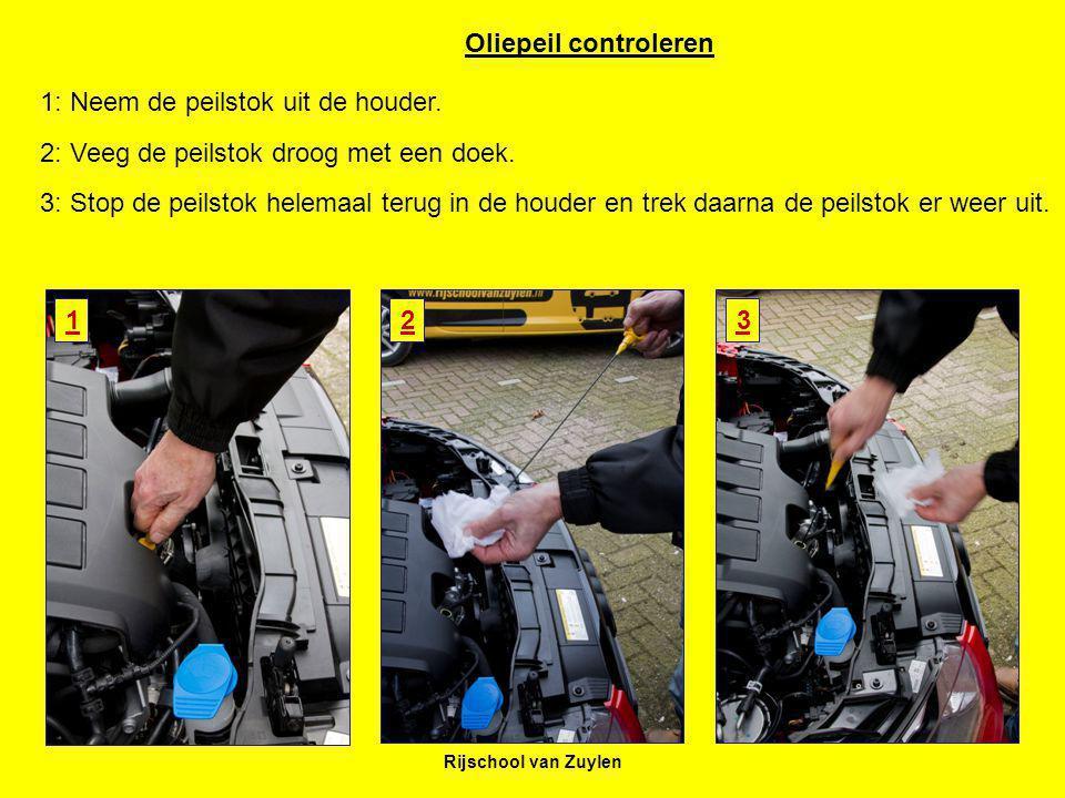 Rijschool van Zuylen 123 Oliepeil controleren 1: Neem de peilstok uit de houder. 2: Veeg de peilstok droog met een doek. 3: Stop de peilstok helemaal