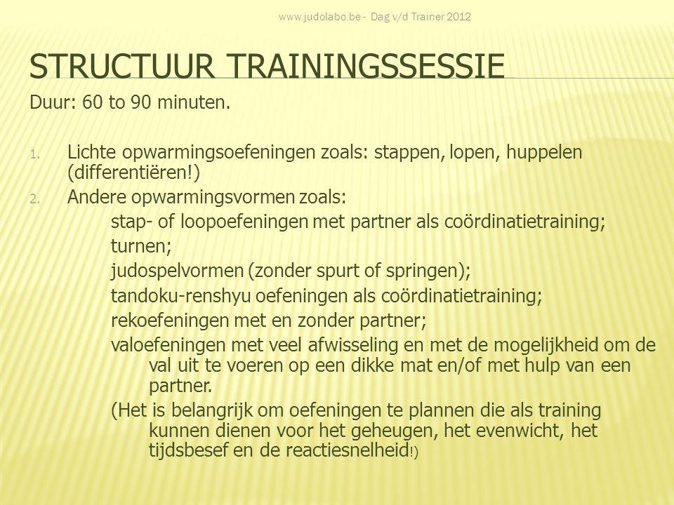 STRUCTUUR TRAININGSSESSIE Duur: 60 to 90 minuten. 1. Lichte opwarmingsoefeningen zoals: stappen, lopen, huppelen (differentiëren!) 2. Andere opwarming
