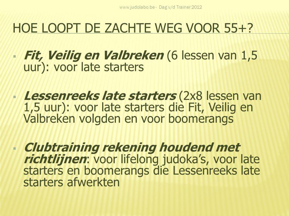 HOE LOOPT DE ZACHTE WEG VOOR 55+?  Fit, Veilig en Valbreken (6 lessen van 1,5 uur): voor late starters  Lessenreeks late starters (2x8 lessen van 1,
