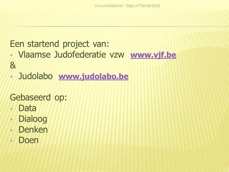 Een startend project van:  Vlaamse Judofederatie vzw www.vjf.be www.vjf.be &  Judolabo www.judolabo.be www.judolabo.be Gebaseerd op:  Data  Dialoo