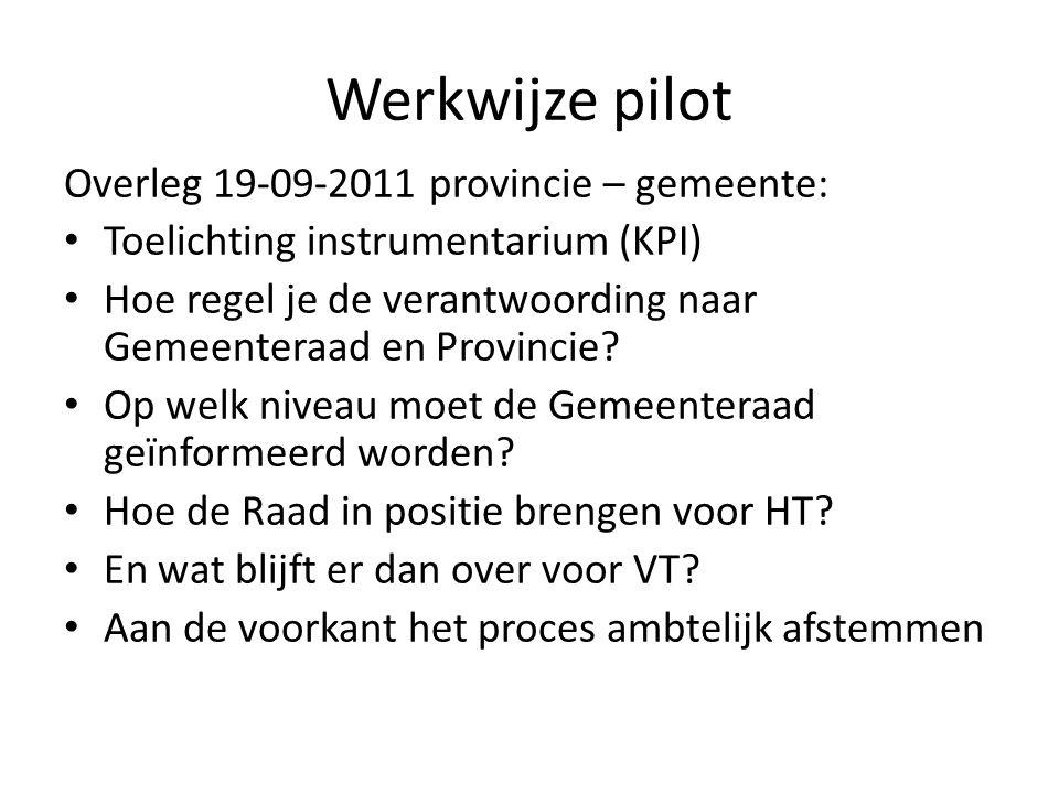 Werkwijze pilot Overleg 19-09-2011 provincie – gemeente: • Toelichting instrumentarium (KPI) • Hoe regel je de verantwoording naar Gemeenteraad en Pro