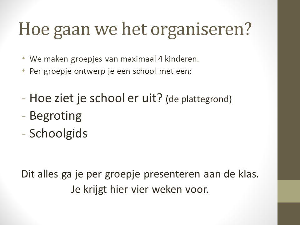 Hoe gaan we het organiseren? • We maken groepjes van maximaal 4 kinderen. • Per groepje ontwerp je een school met een: -Hoe ziet je school er uit? (de