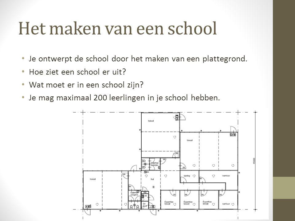 Het maken van een school • Je ontwerpt de school door het maken van een plattegrond. • Hoe ziet een school er uit? • Wat moet er in een school zijn? •