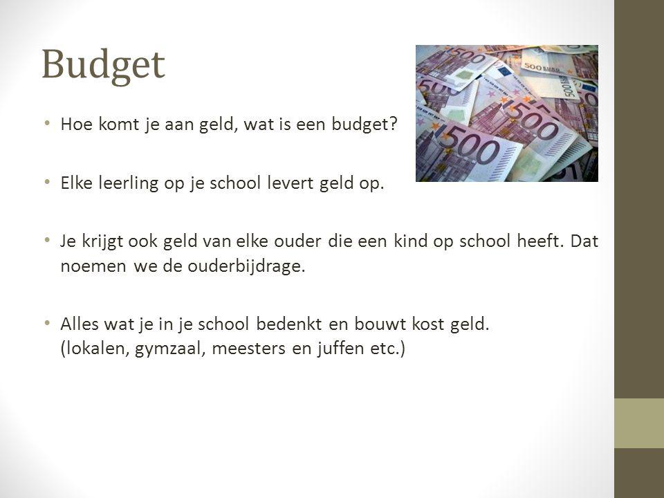 Budget • Hoe komt je aan geld, wat is een budget? • Elke leerling op je school levert geld op. • Je krijgt ook geld van elke ouder die een kind op sch