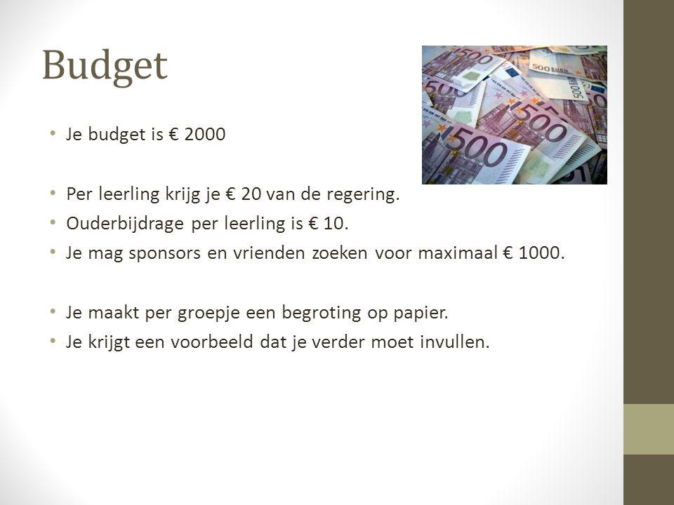 Budget • Je budget is € 2000 • Per leerling krijg je € 20 van de regering. • Ouderbijdrage per leerling is € 10. • Je mag sponsors en vrienden zoeken
