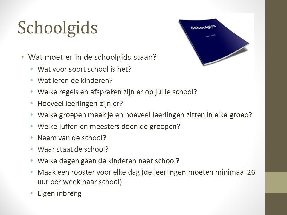 Schoolgids • Wat moet er in de schoolgids staan? • Wat voor soort school is het? • Wat leren de kinderen? • Welke regels en afspraken zijn er op julli