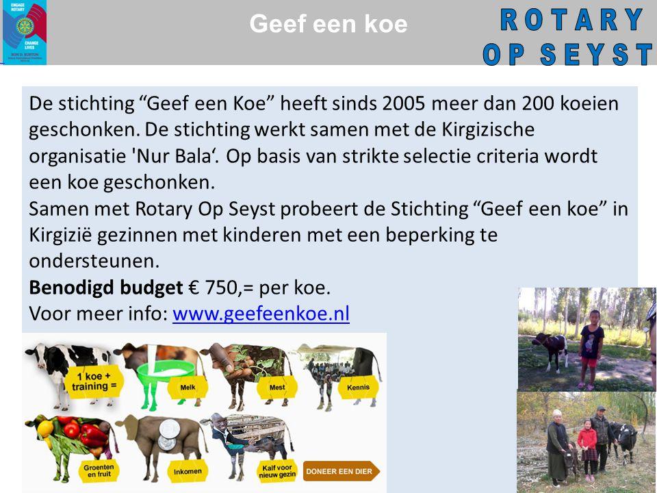 Geef een koe De stichting Geef een Koe heeft sinds 2005 meer dan 200 koeien geschonken.