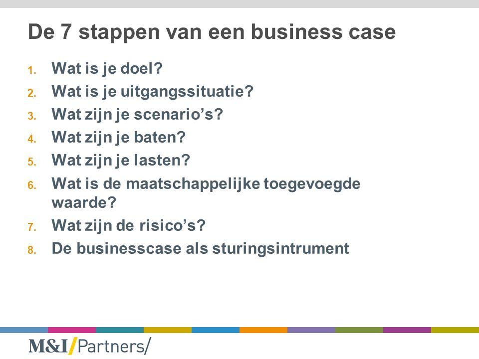 De 7 stappen van een business case 1. Wat is je doel? 2. Wat is je uitgangssituatie? 3. Wat zijn je scenario's? 4. Wat zijn je baten? 5. Wat zijn je l
