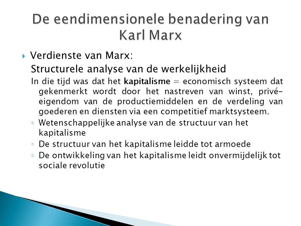  Verdienste van Marx: Structurele analyse van de werkelijkheid In die tijd was dat het kapitalisme = economisch systeem dat gekenmerkt wordt door het nastreven van winst, privé- eigendom van de productiemiddelen en de verdeling van goederen en diensten via een competitief marktsysteem.