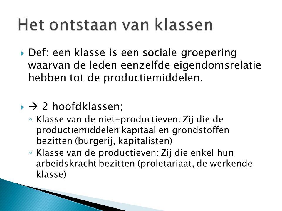  Def: een klasse is een sociale groepering waarvan de leden eenzelfde eigendomsrelatie hebben tot de productiemiddelen.