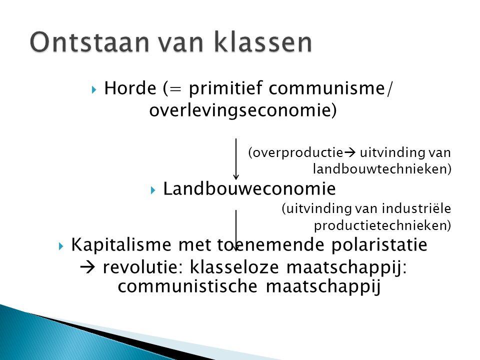  Horde (= primitief communisme/ overlevingseconomie) (overproductie  uitvinding van landbouwtechnieken)  Landbouweconomie (uitvinding van industriële productietechnieken)  Kapitalisme met toenemende polaristatie  revolutie: klasseloze maatschappij: communistische maatschappij