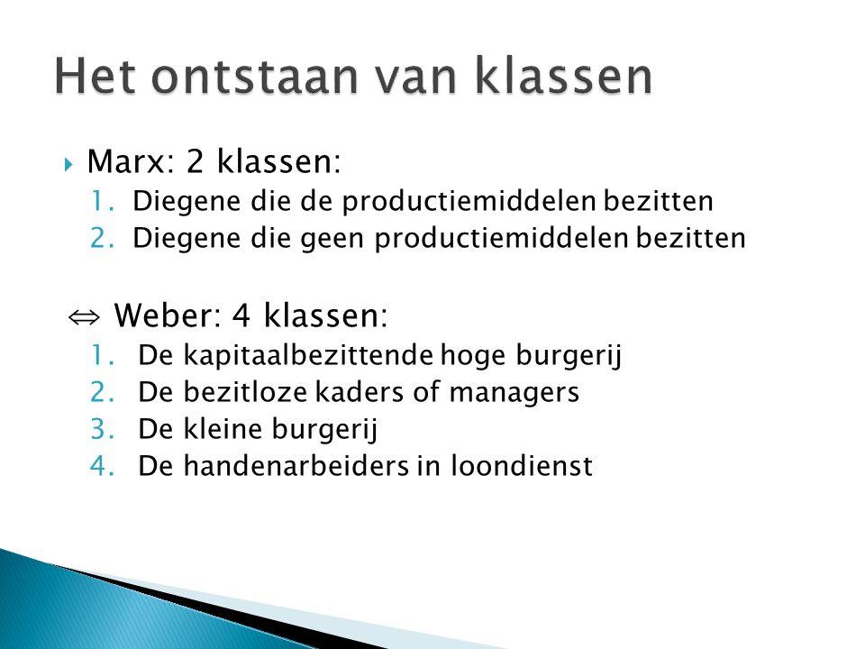  Marx: 2 klassen: 1.Diegene die de productiemiddelen bezitten 2.Diegene die geen productiemiddelen bezitten ⇔ Weber: 4 klassen: 1.De kapitaalbezitten