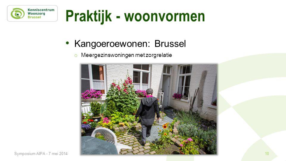 Praktijk - woonvormen • Kangoeroewonen: Brussel o Meergezinswoningen met zorgrelatie 10Symposium AIPA - 7 mei 2014
