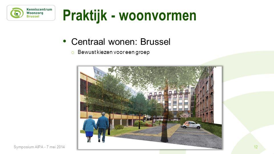 Praktijk - woonvormen • Centraal wonen: Brussel o Bewust kiezen voor een groep 12Symposium AIPA - 7 mei 2014