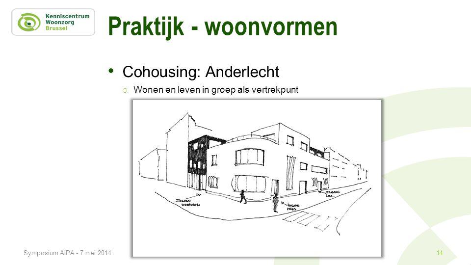 Praktijk - woonvormen • Cohousing: Anderlecht o Wonen en leven in groep als vertrekpunt 14Symposium AIPA - 7 mei 2014