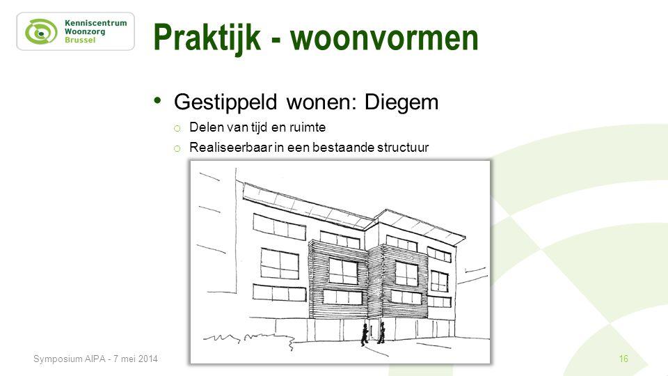 Praktijk - woonvormen • Gestippeld wonen: Diegem o Delen van tijd en ruimte o Realiseerbaar in een bestaande structuur 16Symposium AIPA - 7 mei 2014