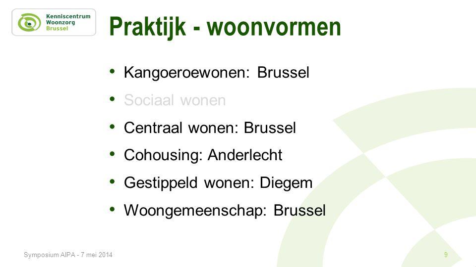 Praktijk - woonvormen • Kangoeroewonen: Brussel • Sociaal wonen • Centraal wonen: Brussel • Cohousing: Anderlecht • Gestippeld wonen: Diegem • Woongem