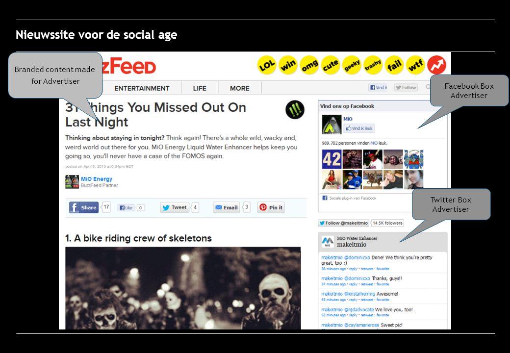 Facebook Box Advertiser Twitter Box Advertiser Branded content made for Advertiser Nieuwssite voor de social age