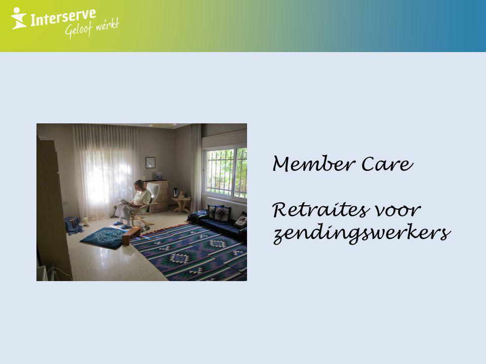 Member Care Coördinator bij de Stichting Interserve  Debriefings  Oriëntatie van nieuwe zendingswerkers  Hulp bij terugkeer naar Nederland  Retraites voor zendelingen
