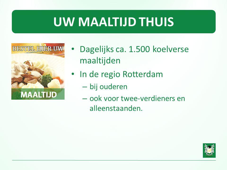 UW MAALTIJD THUIS • Dagelijks ca. 1.500 koelverse maaltijden • In de regio Rotterdam – bij ouderen – ook voor twee-verdieners en alleenstaanden.