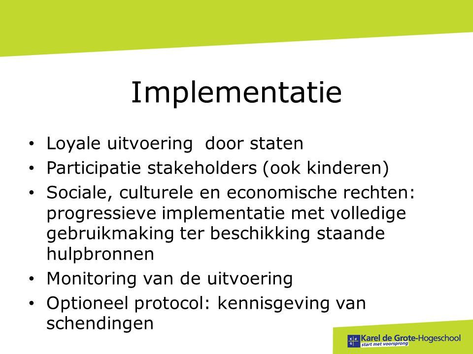 • Loyale uitvoering door staten • Participatie stakeholders (ook kinderen) • Sociale, culturele en economische rechten: progressieve implementatie met