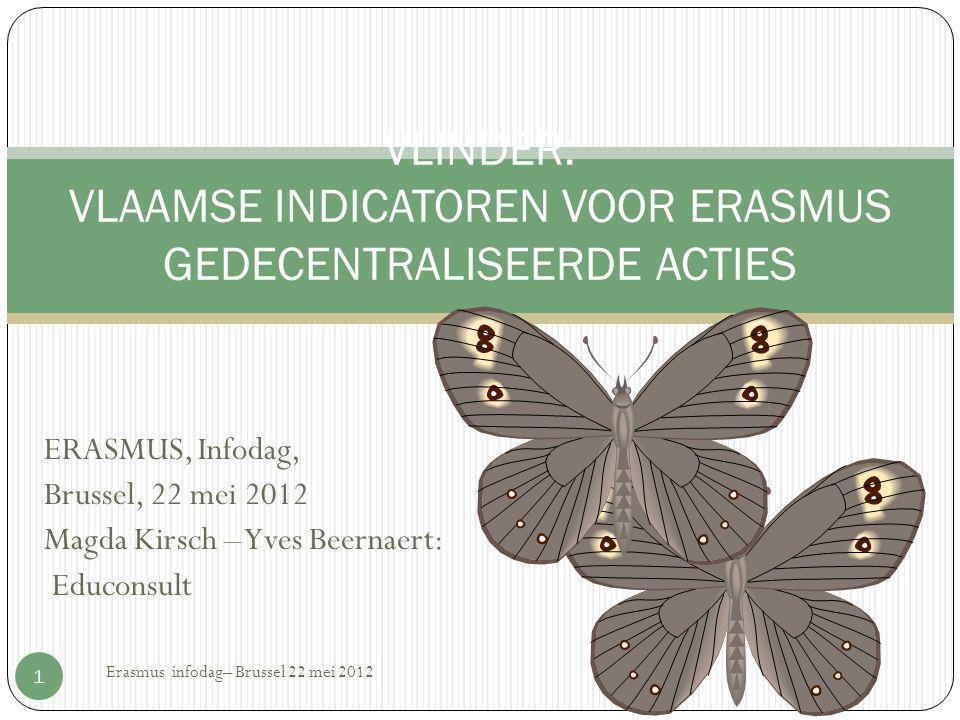 ERASMUS, Infodag, Brussel, 22 mei 2012 Magda Kirsch – Yves Beernaert: Educonsult Erasmus infodag– Brussel 22 mei 2012 1 VLINDER: VLAAMSE INDICATOREN V