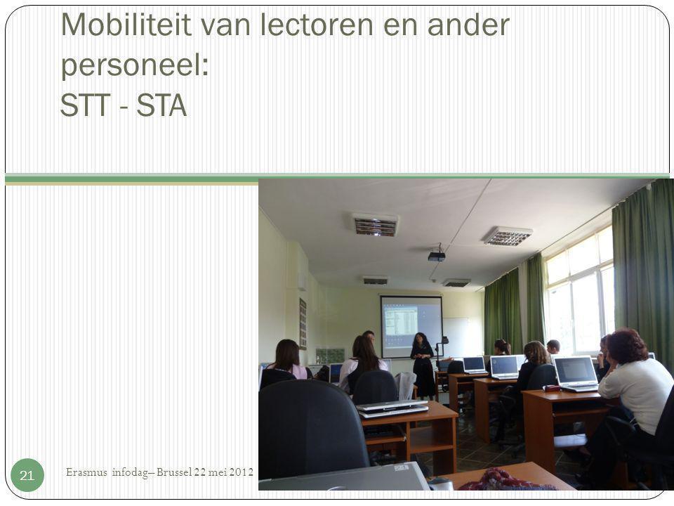 Mobiliteit van lectoren en ander personeel: STT - STA Erasmus infodag– Brussel 22 mei 2012 21