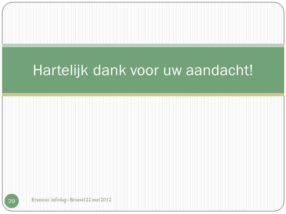 Hartelijk dank voor uw aandacht! 29 Erasmus infodag– Brussel 22 mei 2012