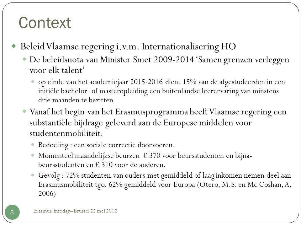 Context  Beleid Vlaamse regering i.v.m. Internationalisering HO  De beleidsnota van Minister Smet 2009-2014 'Samen grenzen verleggen voor elk talent