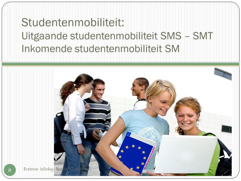 Studentenmobiliteit: Uitgaande studentenmobiliteit SMS – SMT Inkomende studentenmobiliteit SM 8 Erasmus infodag– Brussel 22 mei 2012