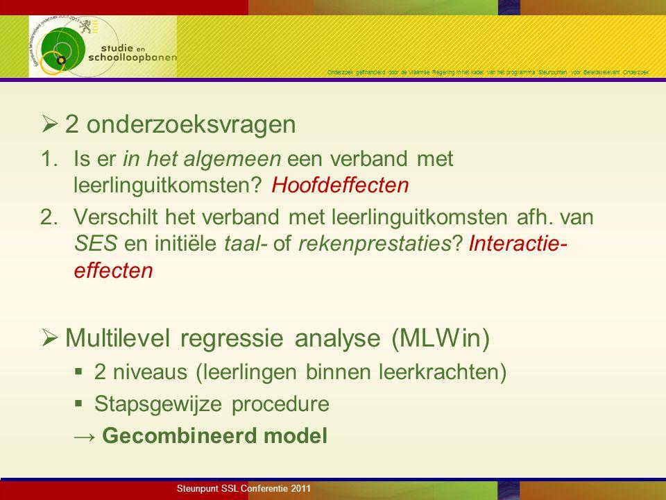 Onderzoek gefinancierd door de Vlaamse Regering in het kader van het programma 'Steunpunten voor Beleidsrelevant Onderzoek'  2 onderzoeksvragen 1.Is er in het algemeen een verband met leerlinguitkomsten.