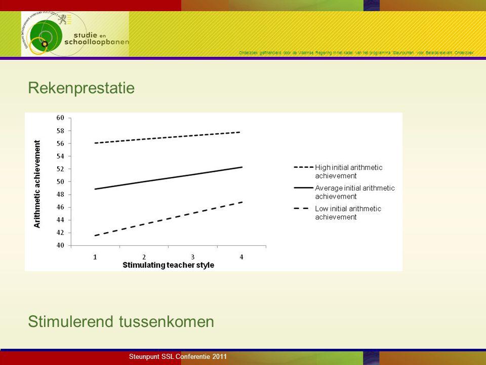 Onderzoek gefinancierd door de Vlaamse Regering in het kader van het programma 'Steunpunten voor Beleidsrelevant Onderzoek' Rekenprestatie Stimulerend tussenkomen Steunpunt SSL Conferentie 2011