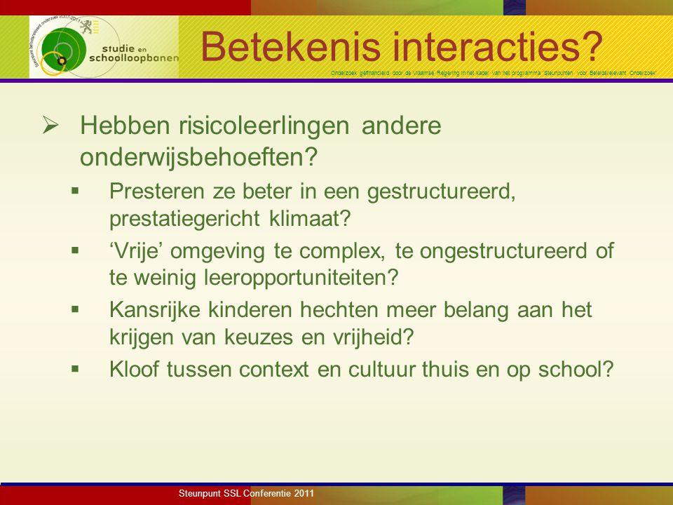Onderzoek gefinancierd door de Vlaamse Regering in het kader van het programma 'Steunpunten voor Beleidsrelevant Onderzoek' Betekenis interacties.
