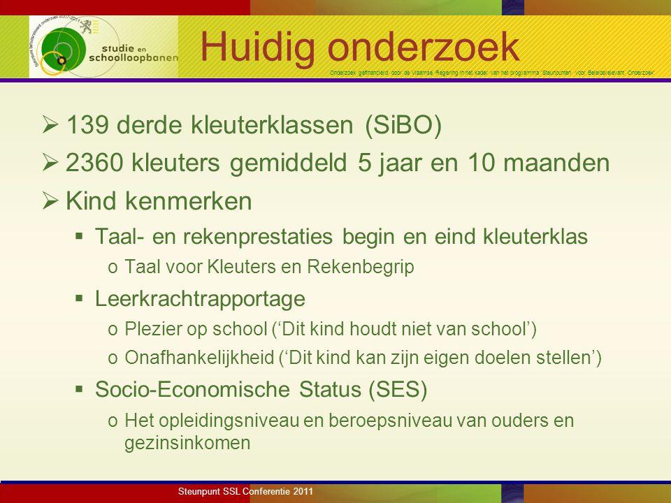 Onderzoek gefinancierd door de Vlaamse Regering in het kader van het programma 'Steunpunten voor Beleidsrelevant Onderzoek'  Klaskenmerken  Leerkrachtstijl (ADOS, Laevers et al.