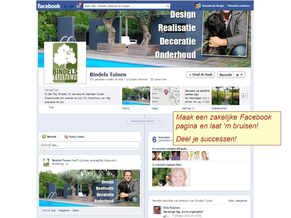 Maak een zakelijke Facebook pagina en laat 'm bruisen! Deel je successen!