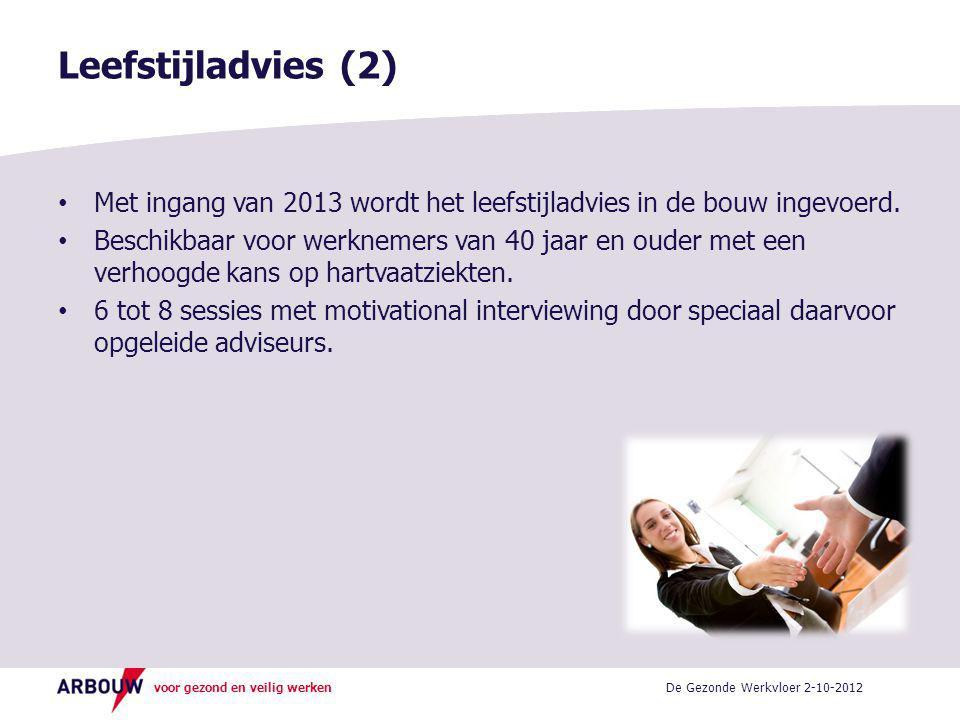 voor gezond en veilig werken • Met ingang van 2013 wordt het leefstijladvies in de bouw ingevoerd.