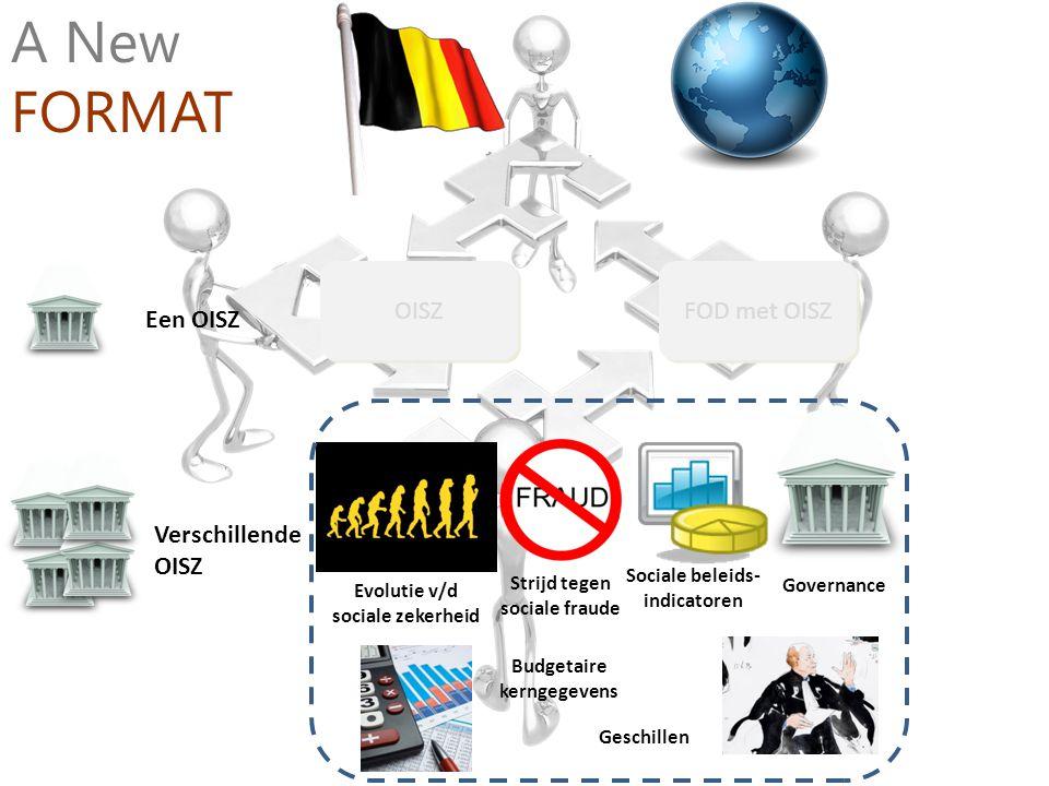 Verschillende OISZ Een OISZ OISZ FOD met OISZ A New FORMAT Strijd tegen sociale fraude Sociale beleids- indicatoren Governance Evolutie v/d sociale ze