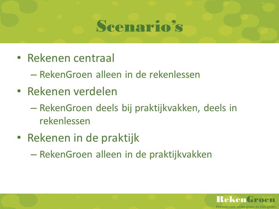 RekenGroen Rekenen voor vmbo-groen en mbo-groen Scenario's • Rekenen centraal – RekenGroen alleen in de rekenlessen • Rekenen verdelen – RekenGroen de