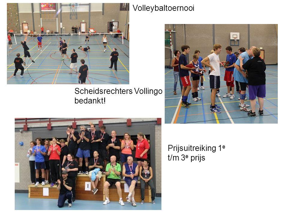 Volleybaltoernooi Scheidsrechters Vollingo bedankt! Prijsuitreiking 1 e t/m 3 e prijs