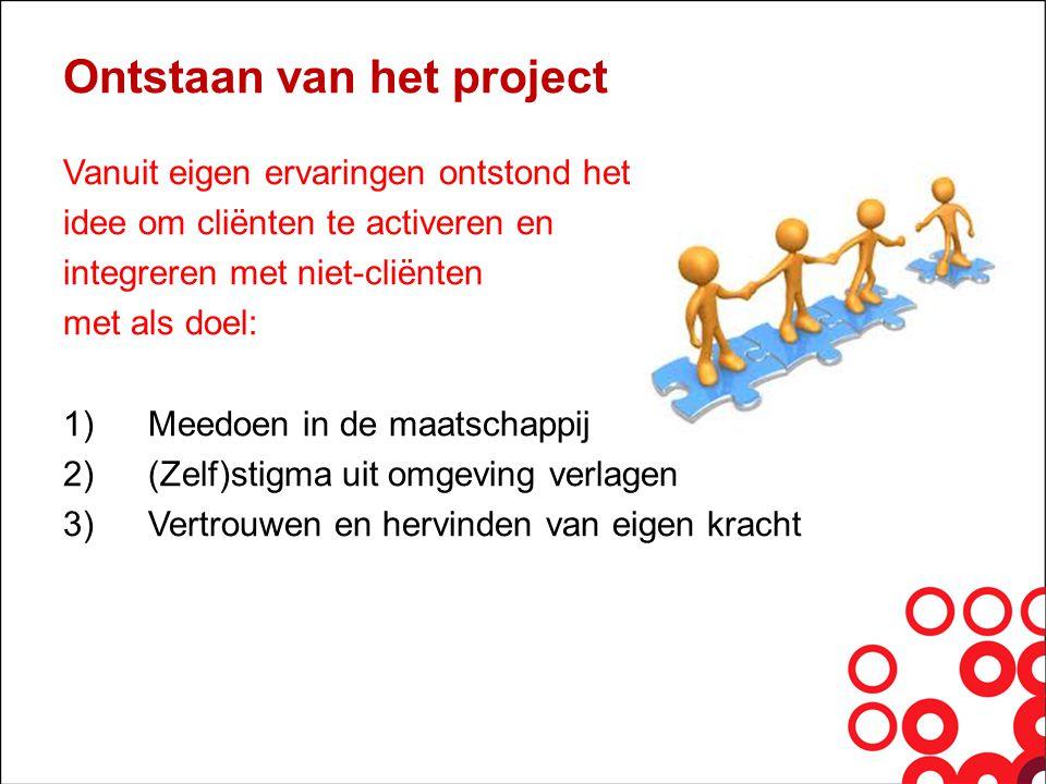 Ontstaan van het project Vanuit eigen ervaringen ontstond het idee om cliënten te activeren en integreren met niet-cliënten met als doel: 1)Meedoen in