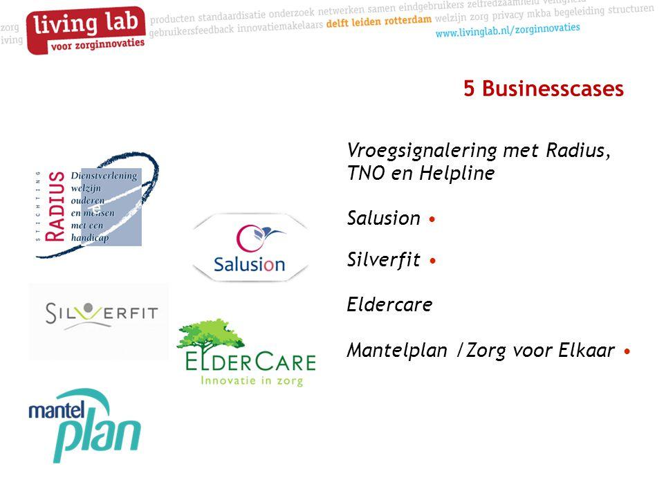 5 Businesscases Vroegsignalering met Radius, TNO en Helpline Salusion • Silverfit • Eldercare Mantelplan /Zorg voor Elkaar • e