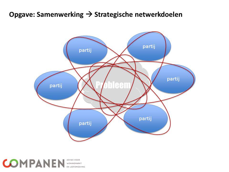 Opgave: Samenwerking  Strategische netwerkdoelen Probleem partij